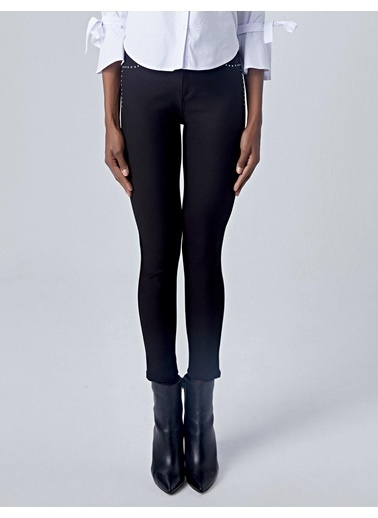 Huxel WLP002193 Gümüş Taşlı Pantolon Siyah